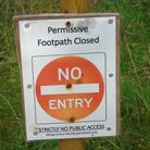 A sign preventing people accessing a permissive path in Hethersett. Picture: Peter Steward