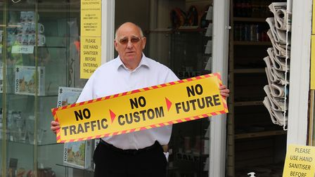 Bob White, owner of Showcase Gallery, leads protests against North Walsham road closures. Picture: C
