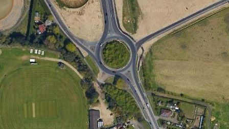 The A140 Cromer Road / Holt Road roundabout near Horsford will close for five nights. Pic: Google Ma