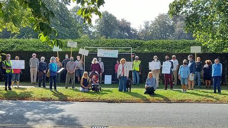 Residents protesting against the Heigham Park tennis court changes. Photo: John Greenaway
