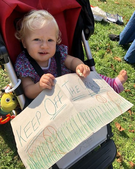 Baby Edith at the Heigham Park tennis courts protest. Photo: Lucy Greenwood