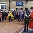Then-mayor of Lowestoft, Alice Taylor, speaks during the Holocaust Memorial Day service in January 2020.