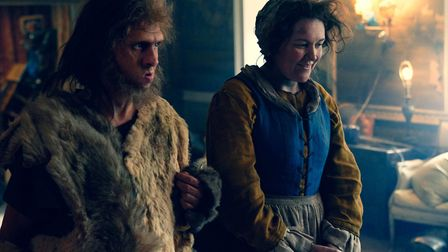 Laurence Rickard as Robin the Caveman and Katy Wix as Mary. Picture: BBC/Monumental Television/Steve