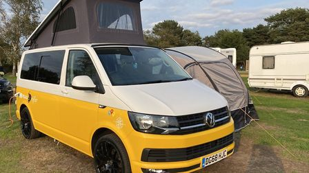 Emily Thomson on her North Norfolk staycation at Kelling Heath camping site. VW Campervan hired from