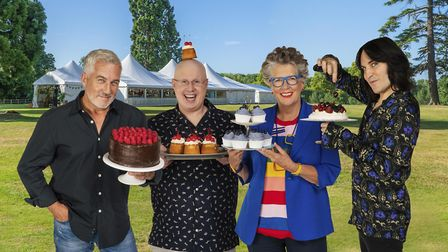 Matt Lucas joins Paul, Prue and Noel in the new series of The Great British Bake Off. Picture: Mark