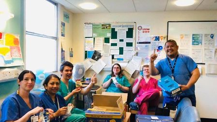 NHS workers tuck into supplies from the White Horse. Pic: supplied