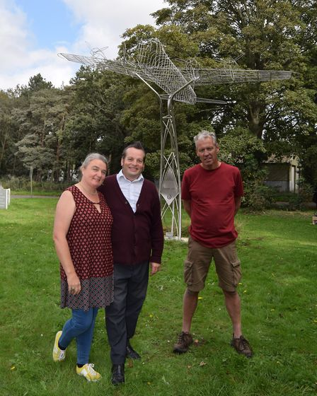 Nigel Morter and Claire Nugent of The Control Tower with sculptor Andy Knighton. Picture: Lara Blake
