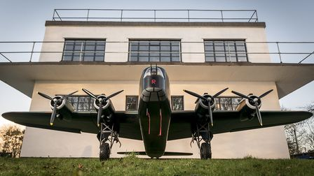 A model stirling outside the former RAF North Creake control tower. Picture: Matthew Usher.