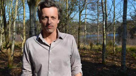 Hugh Somerleyton pictured on land earmarked for the re-wilding project at Fritton Lake on the Somerl
