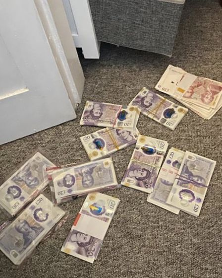£18,000 in cash deposits were discovered by Willow the police dog in a drugs raid in Great Yarmouth.