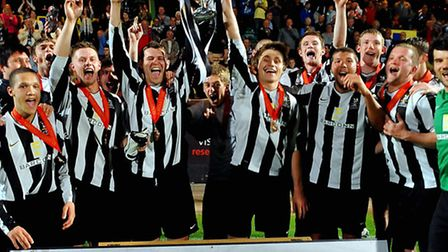 Dereham Town celebrate winning the Norfolk Senior Cup final at Carrow Road in 2011. Picture: Denise