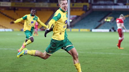 Todd Cantwell celebrates his FA Youth Cup winner against Middlesbrough. Picture: JASON DAWSON