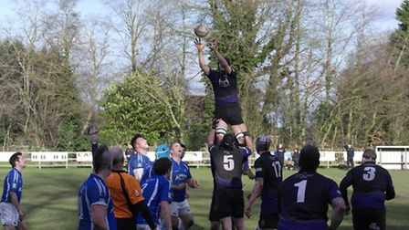 Captain Dan Ponder collects from the top of another good Dereham line-out. Picture: KIRSTY DREW