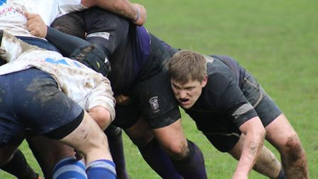 Dereham flanker and joint man-of-the-match Dave Watson showing commitment on Saturday. Picture: KIRS