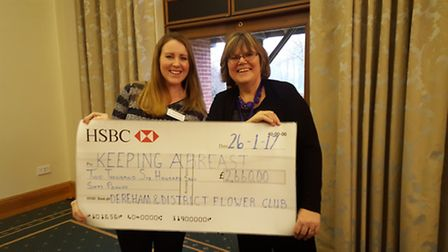 Jacquie Aldous presenting the cheque to Tracey Allan from Keeping Abreast. Picture: Keeping Abreast