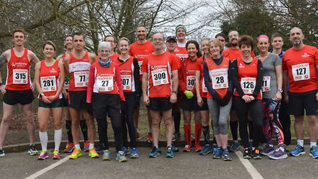 Dereham Runners who took part in the Norfolk County Championships Valentine 10k. Picture: Ian Edward