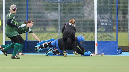 Evergreen keeper Yvonne Clipston making a great save to ensure her side's 2-0 win over Herlings. Pic