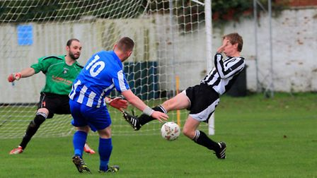 Mattishall, pictured here in action against Hindringham, saw off Long Stratton 2-0 on Saturday. Pict