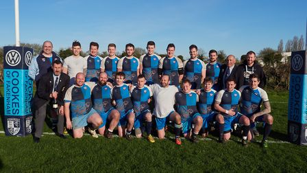 The EC2N league winning Fakenham side after the win against Diss. Picture: Mike Wyatt.
