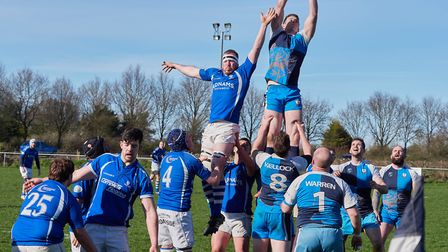 Fakenham' showing the Diss line-out why they are leading the table. Picture: Mike Wyatt.