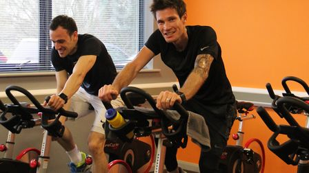 Professional speedway rider Jason Doyle (right) at the Poultec Training gym in Mattishall. Poultec T