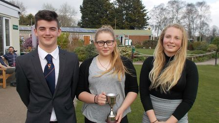 The Northgate team (left to right) of Joe Crane, Norfolk Schools U14 Girls' Champion Lily Farrelly a