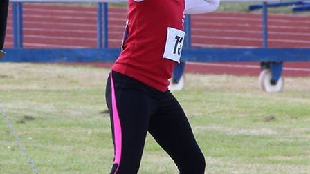 Aisha Elouassi in action in the U11 shot put. Picture: Aaron Protheroe