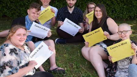Young carers, members of the Norfolk Young Carers Forum, at the launch of their campaign Carers in M
