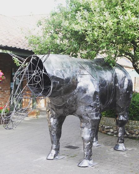 A sculpture by artist Henry J Stephen who is allowing members of the publice into his workshop at Th