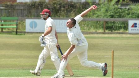 Tom Brice took a couple of wickets for Lowestoft against Diss on Saturday but it wasn't enough. Pict