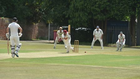 Dereham captain Duncan Hewitt on his way to a century in Saturday's Norfolk Alliance match with Lowe
