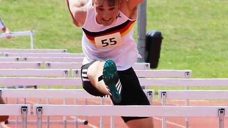 Nathan Protheroe in the 110m Hurdles. Picture: Aaron Protheroe