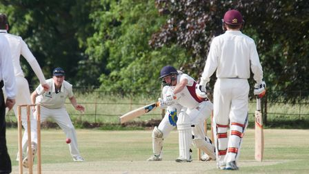 Cookes of Fakenham man-of-the-match Harry Bammant on his way to an unbeaten 72 for Fakenham at North