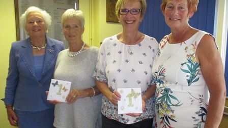 Dereham Ladies' president Jill Trudgill (left) and ladies' captain Dianne Wilkinson (right) with wi