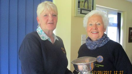 Dereham Golf Club Ladies' president Jill Trudgill presenting the Rose Bowl to Julie Bray. Picture: C