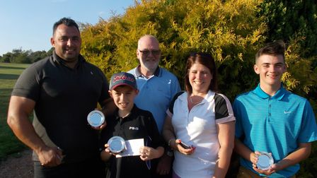 Pictured at Dereham Golf Club are Brad and Vinnie Rix, vice-president Peter Brightwell and Caroline