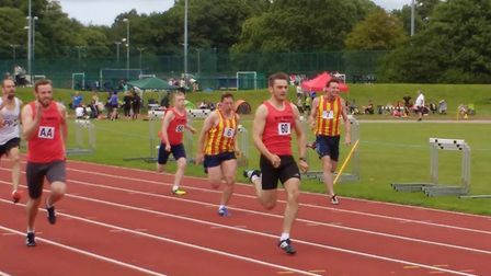 Nathan Protheroe (No 60) in 100m action at the UEA Sportspark. Picture: Club