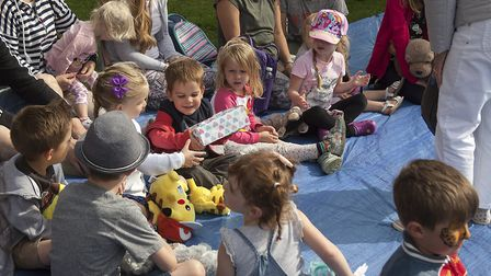 Children play Pass the Parcel at the Annual Teddy Bear Zip Wire Event at Dereham Windmill. Picture: