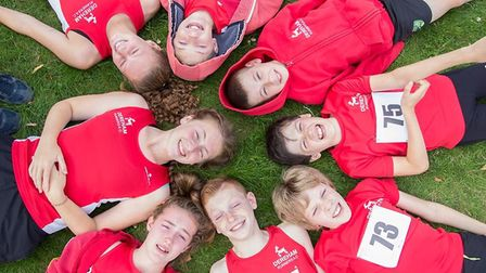 Dereham Juniors AC chill out between events in the East Anglian League at Bury St Edmunds. Picture: