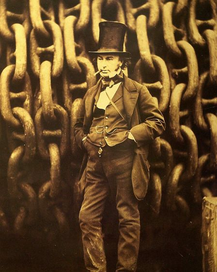 Robert Howlett's most famous photograph, of Isambard Kingdom Brunel standing in front of the launchi