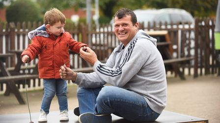 Landlord of the Railway Tavern in Dereham, Paul Sandford, (pictured with his 2 year-old grandson Cha