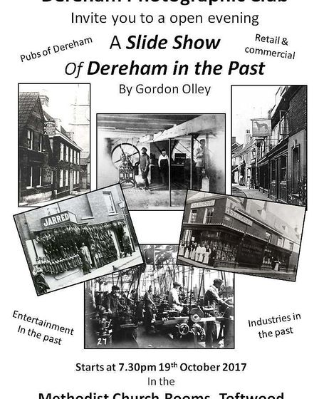 Gordon Olley is presenting a slide show of Dereham's past at an open meeting of Dereham Photographic