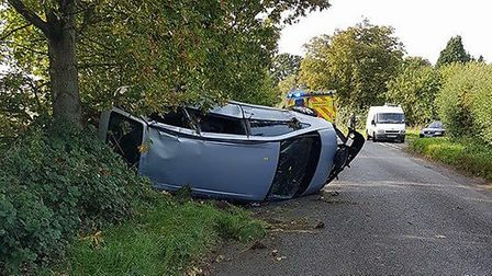 A diesel spill caused a woman to lose control of her car. Picture Sammy Walpole
