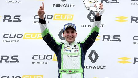Dan Zelos on the podium at Brands Hatch. Picture: Russell Atkins Media.