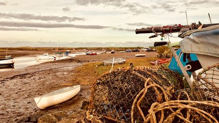 Traditional lobster pots are stacked in readiness for the turn of the tide. Picture: Rebecca Woods