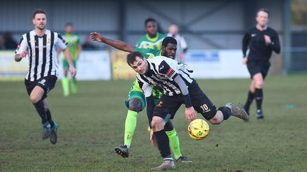 Ryan Crisp's first half strike earned Dereham Town a superb win at AFC Hornchurch last week. Picture