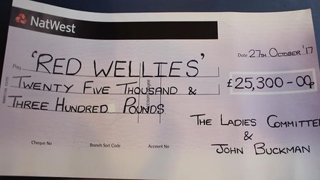 The cheque, presented to Mervyn Wiles, for 25,300. Photo: Anna Bales, South Park Green