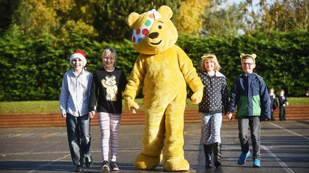 Pudsey Bear with Beetley Primary School pupils (from left) Leo, Sophie, Poppy and Dylan. Picture: Ia