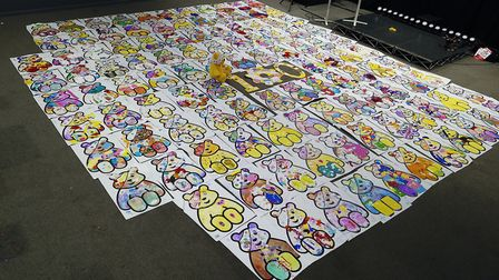 The final result - 100 giant Pudsey Bears. Photo: Inspired Youth