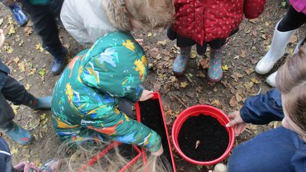 The children are looking forward to seeing the flowers in the spring. Photo: Clare Findlay